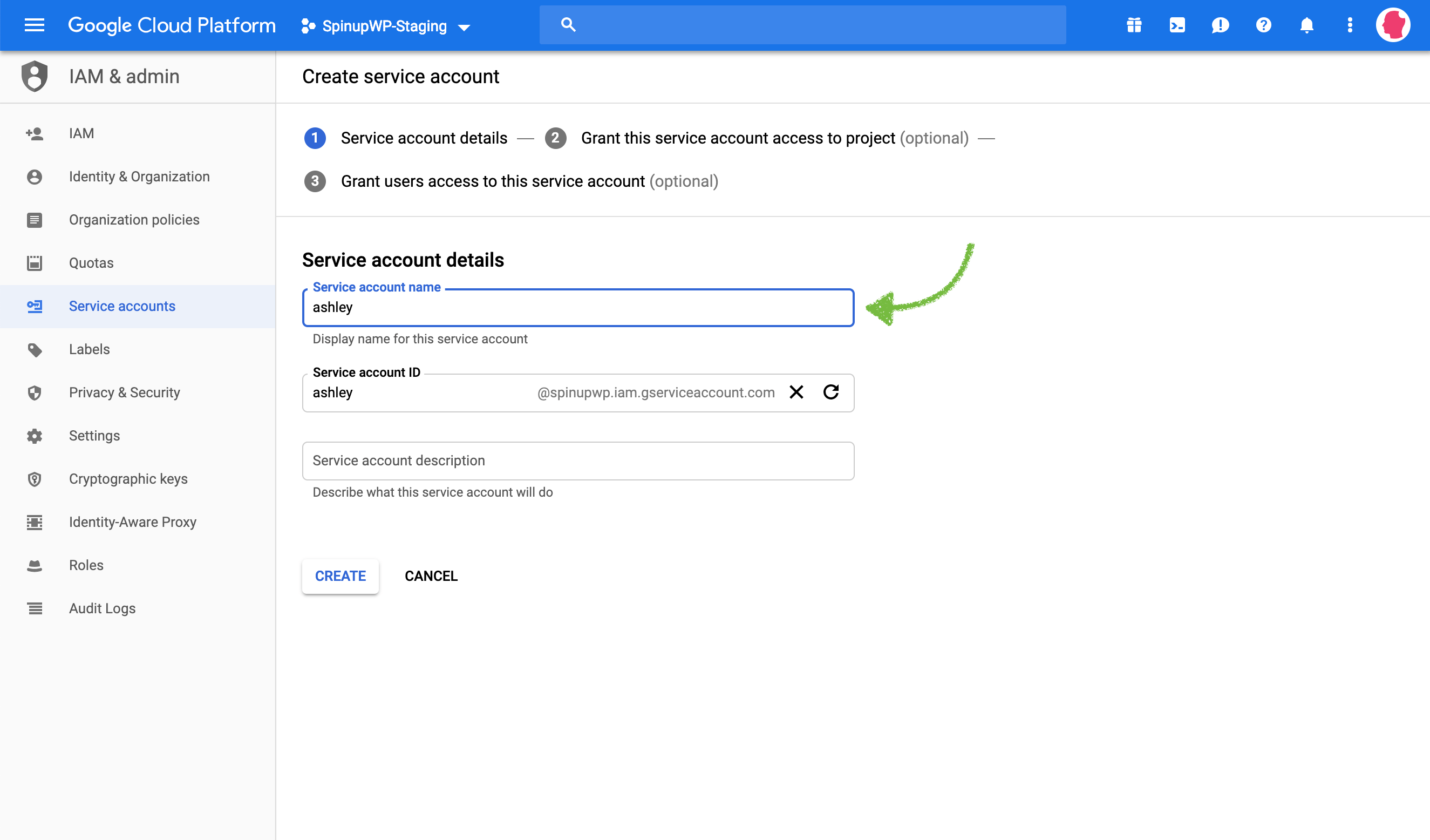 Google Cloud Storage enter name