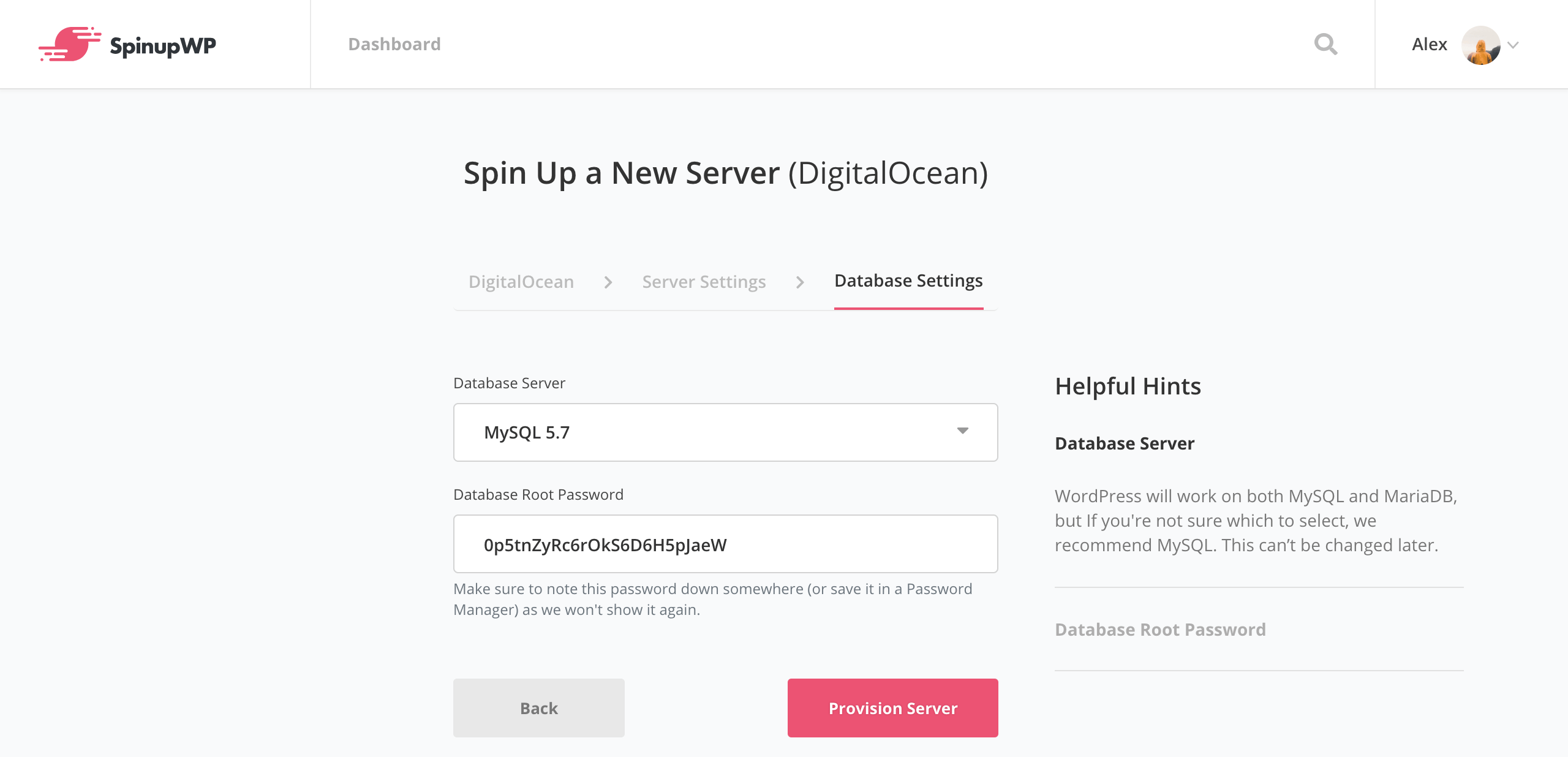 SpinupWP new server database settings
