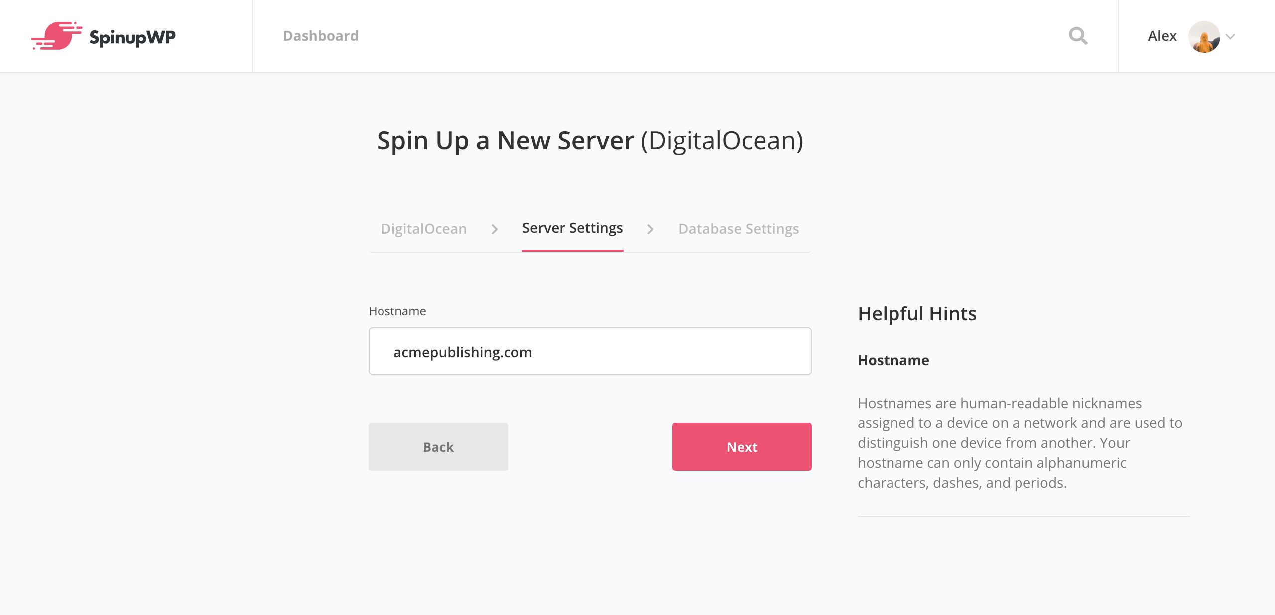 SpinupWP new server settings
