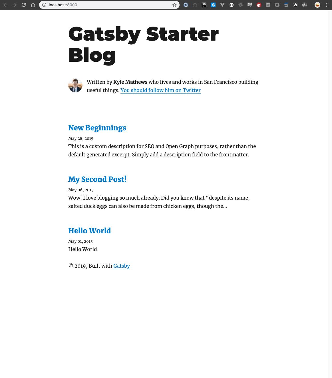 Gatsby Starter Blog page