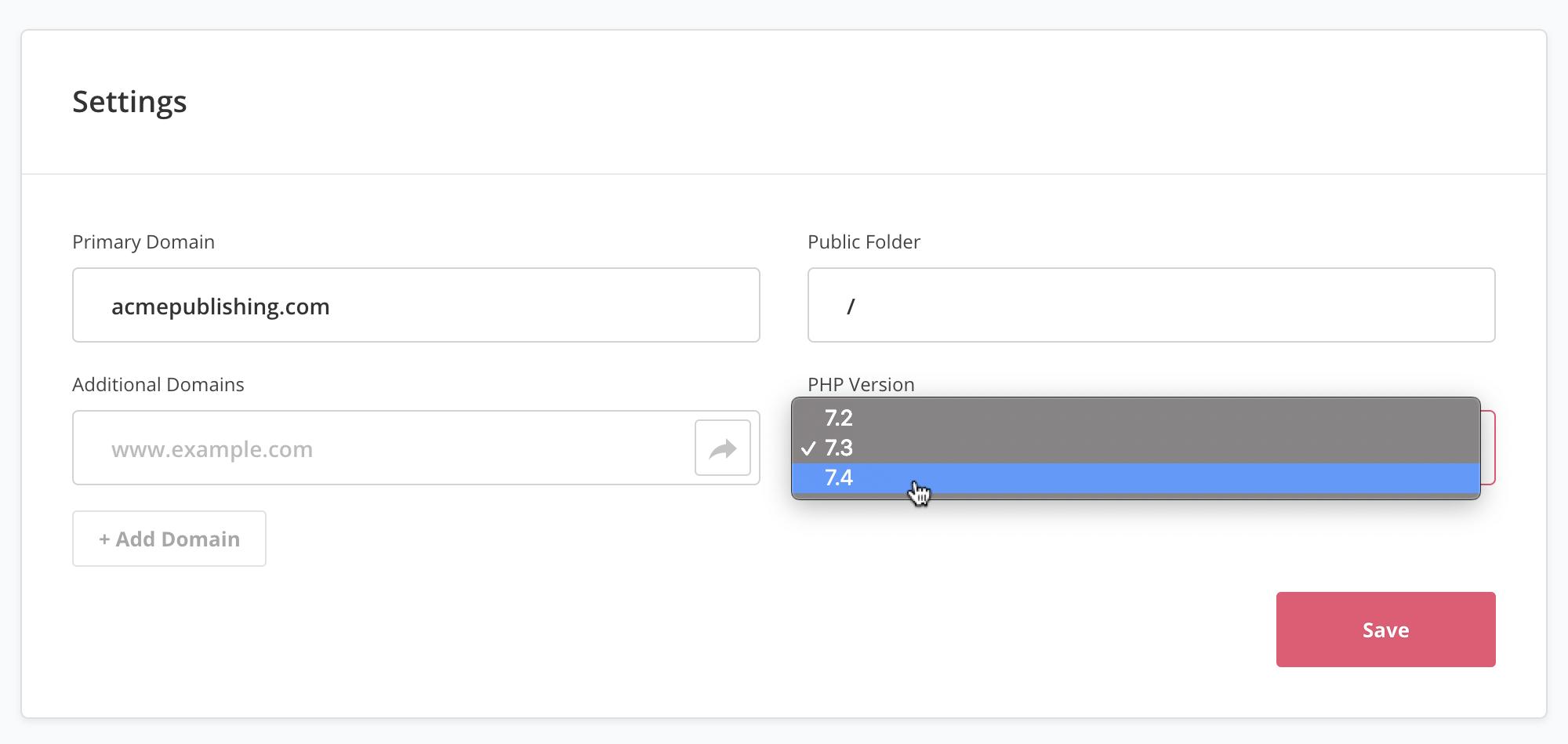 Screenshot of PHP 7.4 dropdown