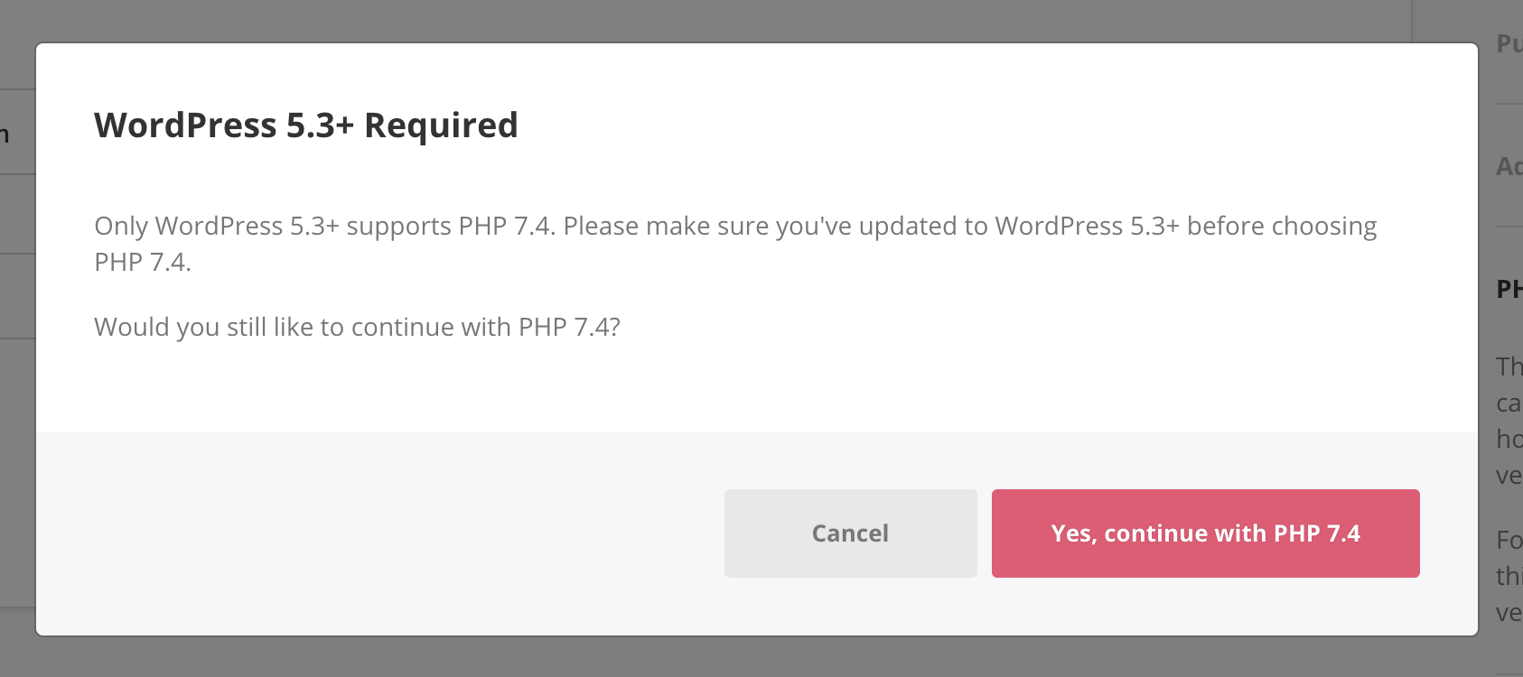 Notice of WordPress 5.3 required