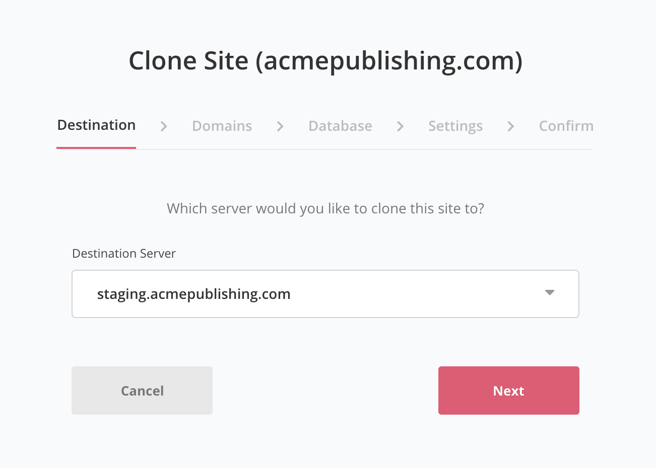 Clone site to another server destination screen