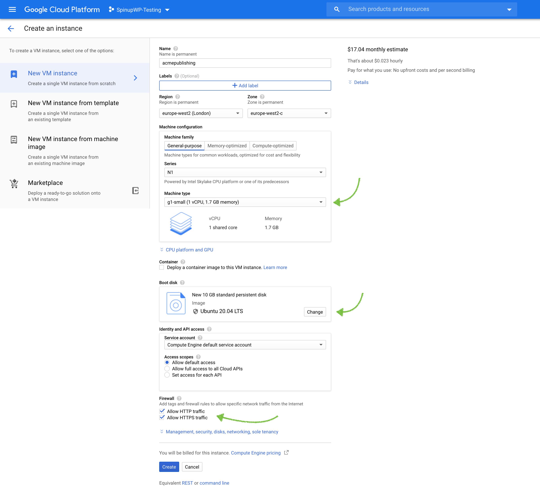 Google Cloud create instance