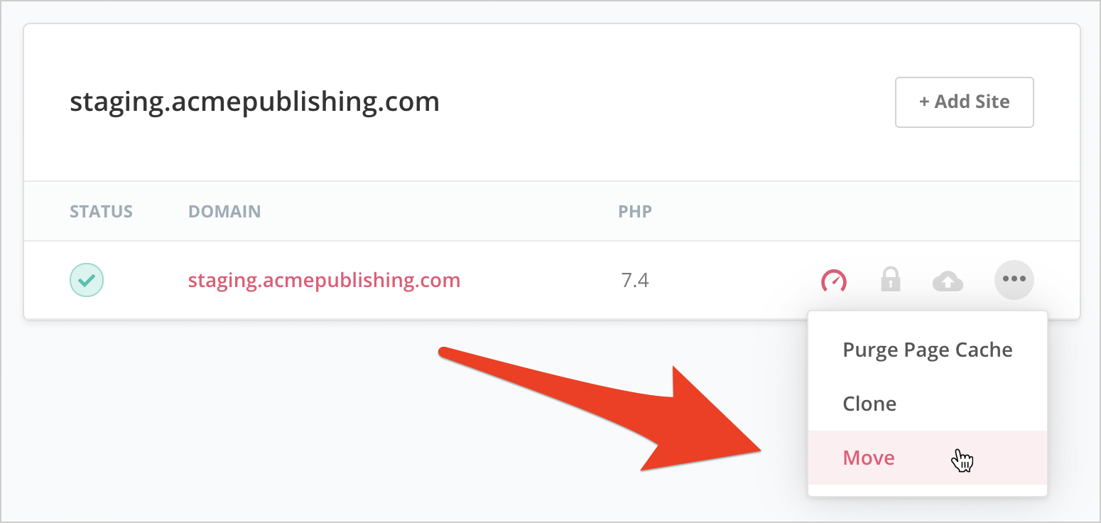 Move site option in SpinupWP action menu