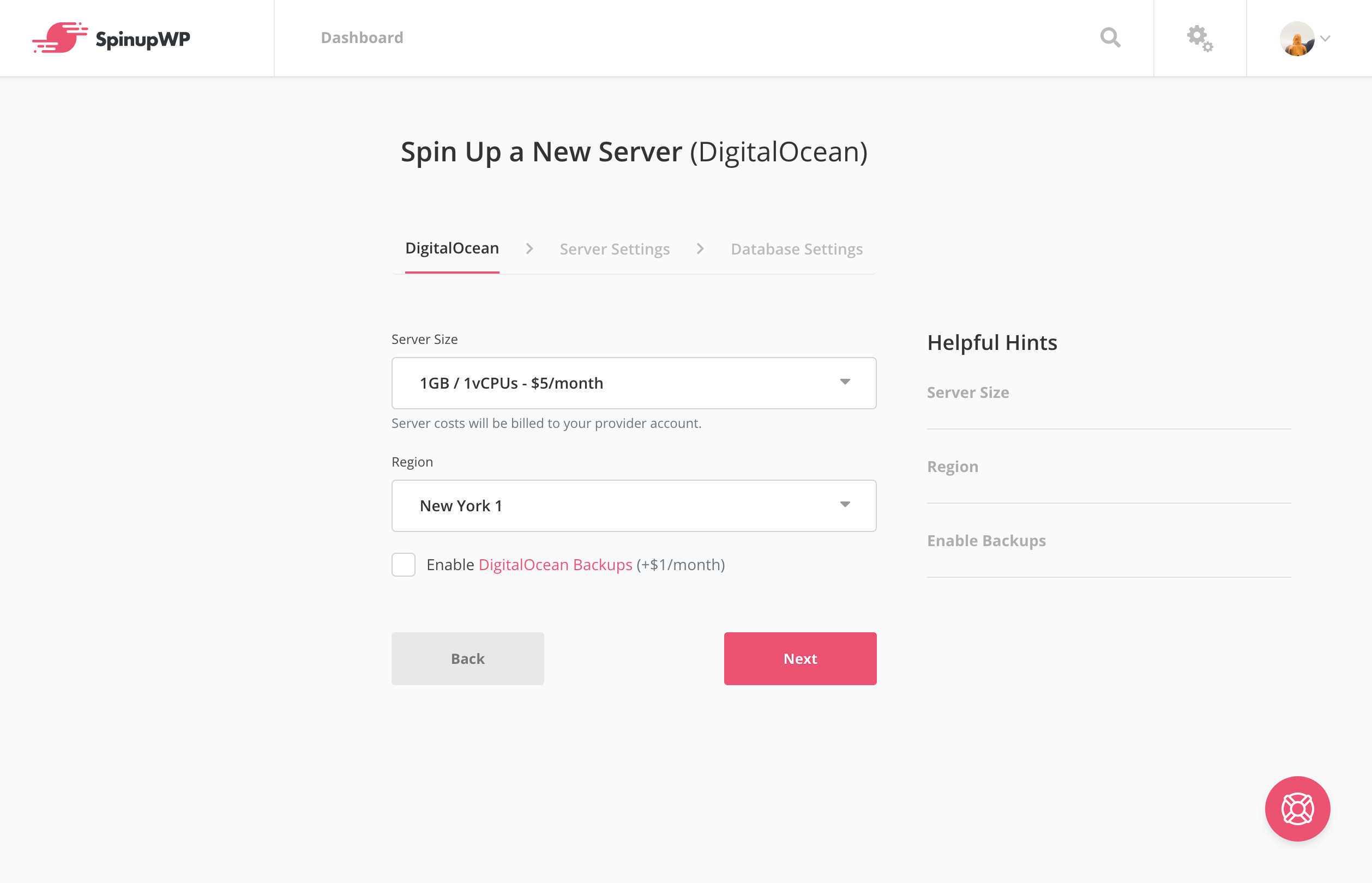 SpinupWP Add New Server