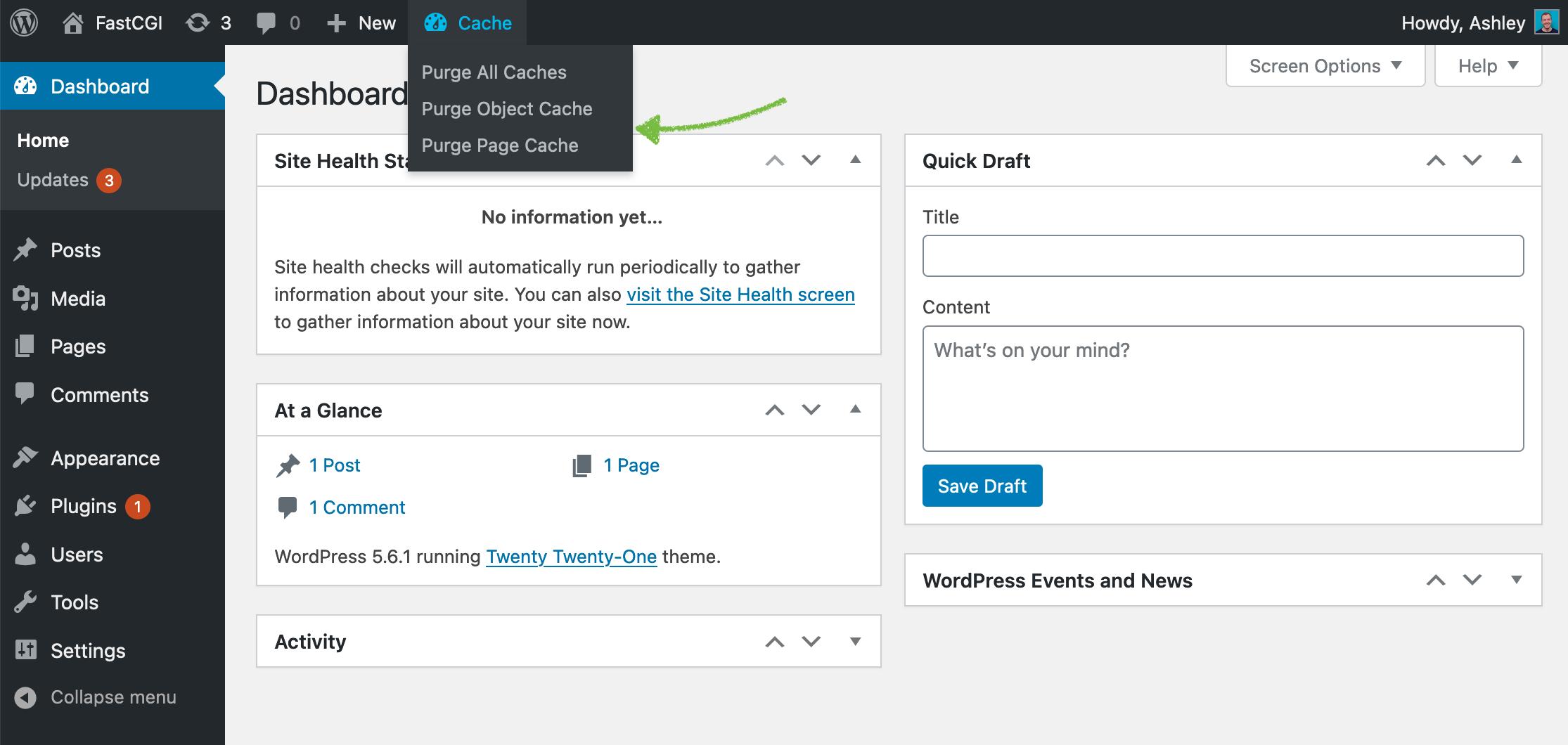 Purge Page Cache through SpinupWP WordPress plugin