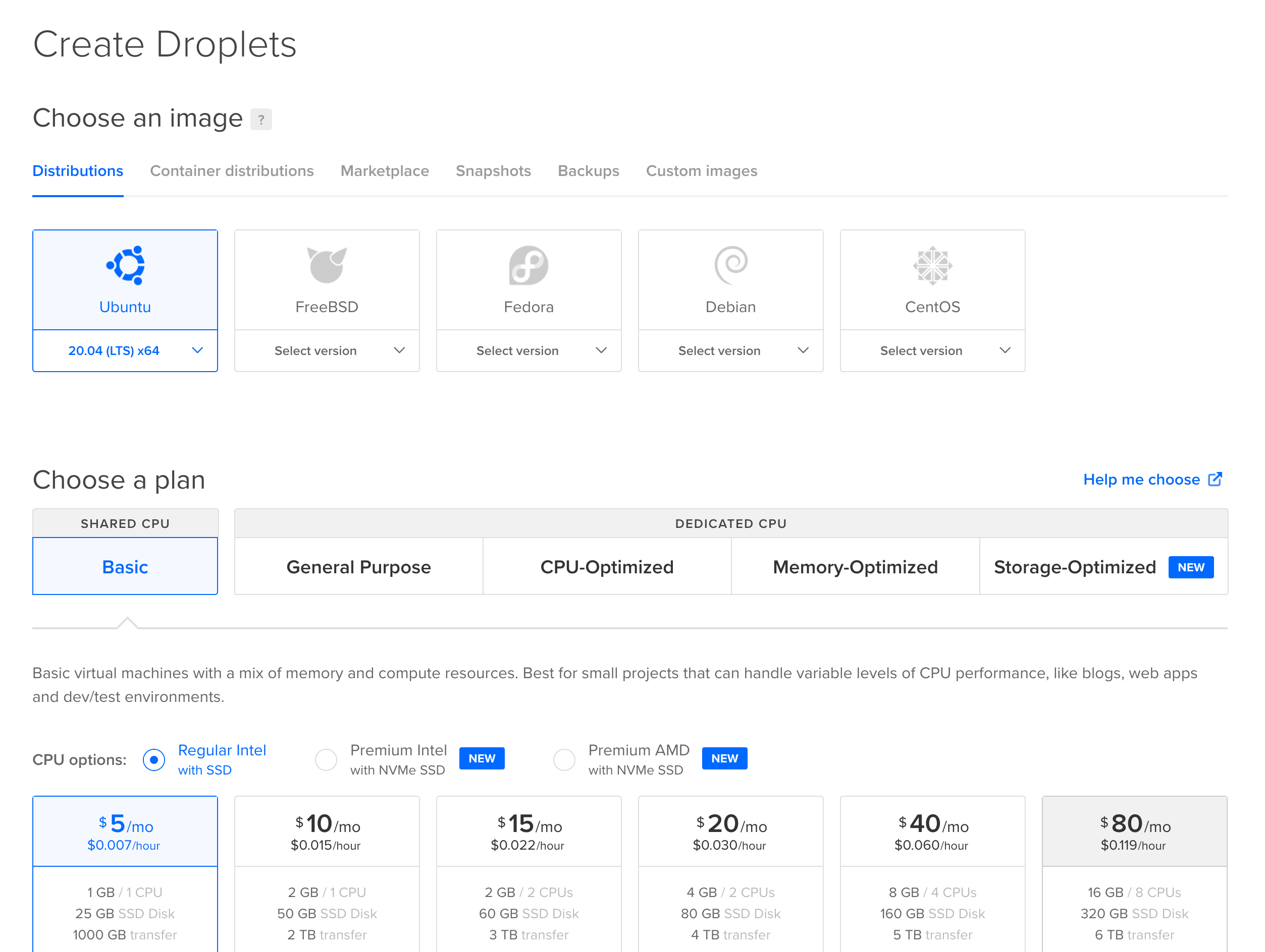 DigitalOcean create Droplet screen