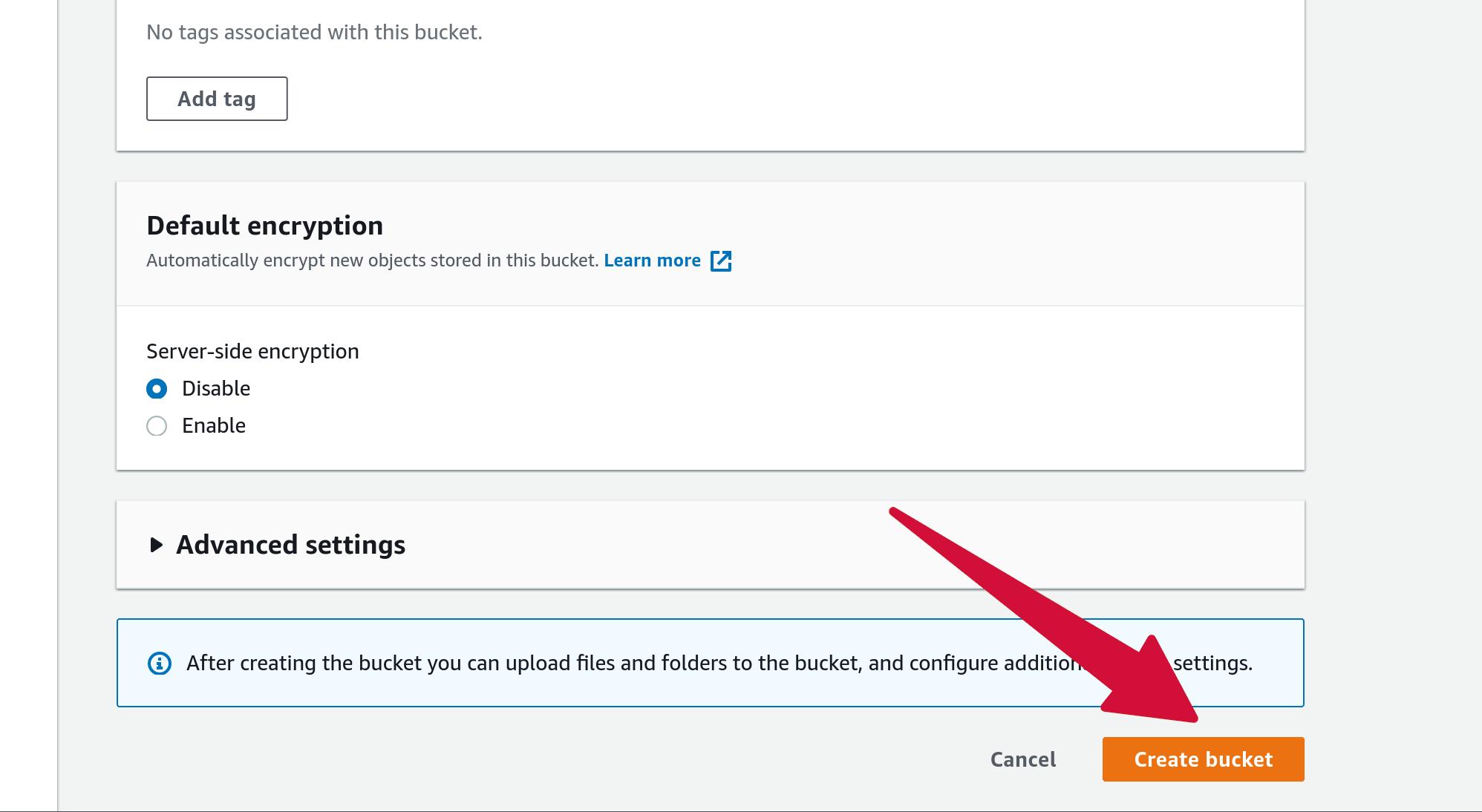 Amazon S3 Bucket Create