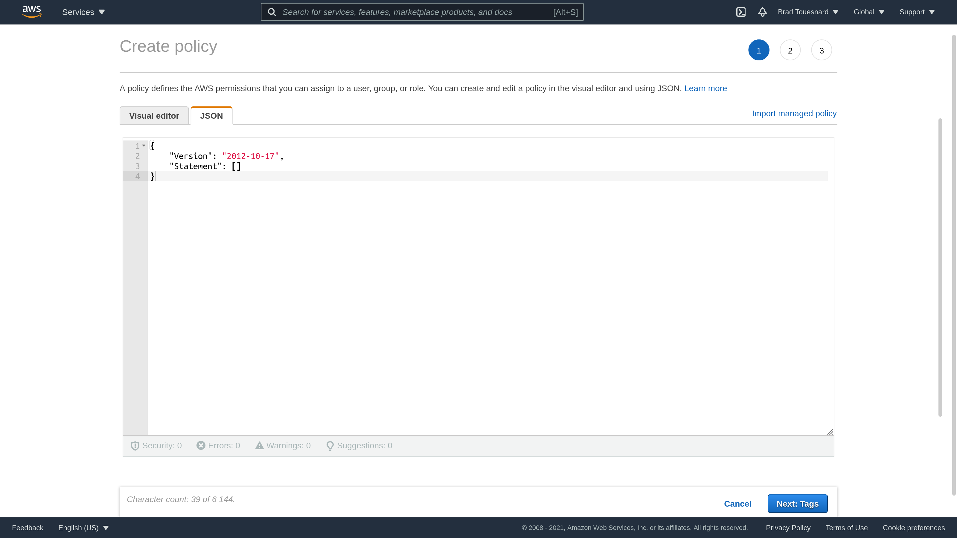 Amazon S3 Create Access Policy JSON