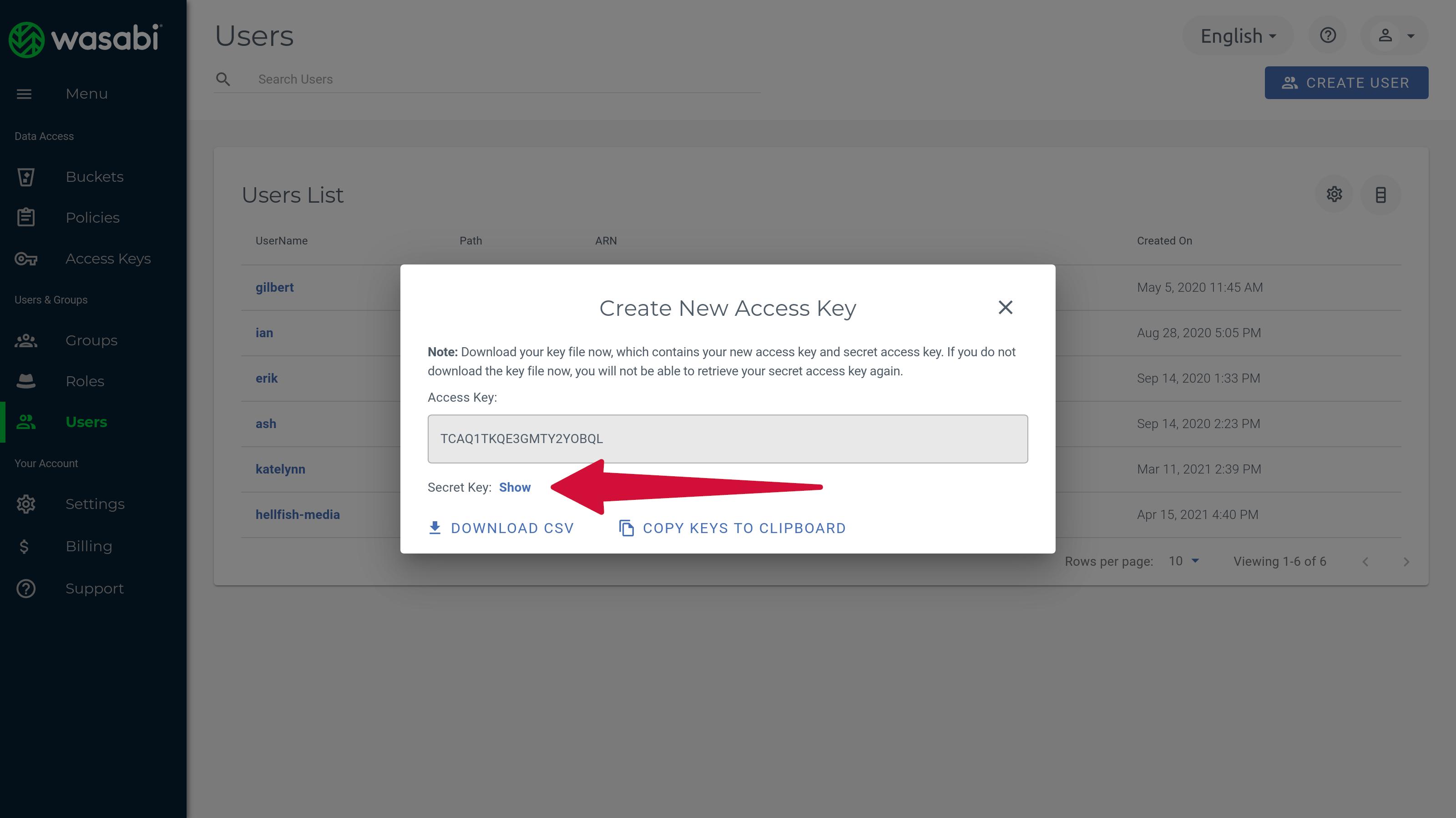 Wasabi Create User Access Keys