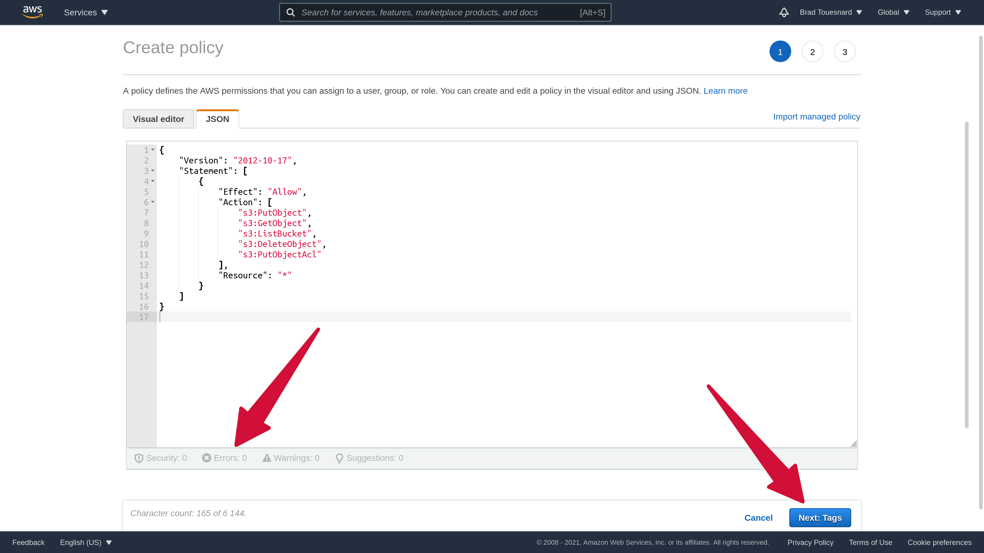 Amazon S3 Create Access Policy JSON Edit
