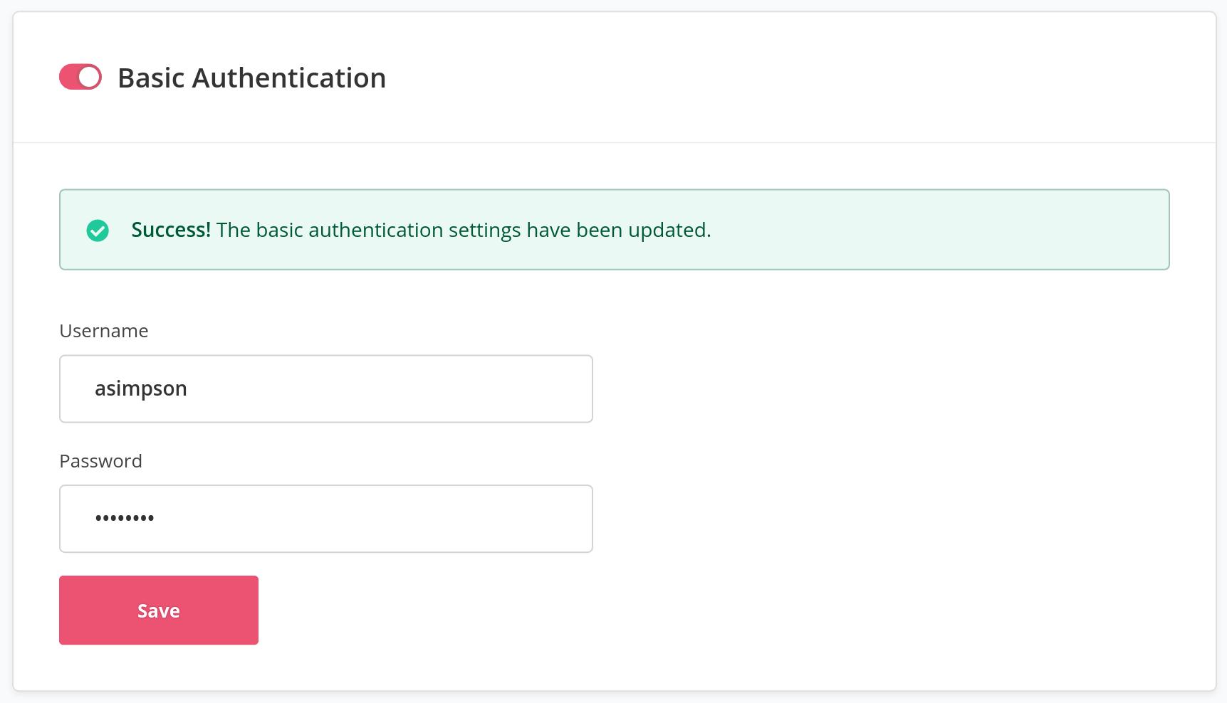 Basic Authentication Settings Saved
