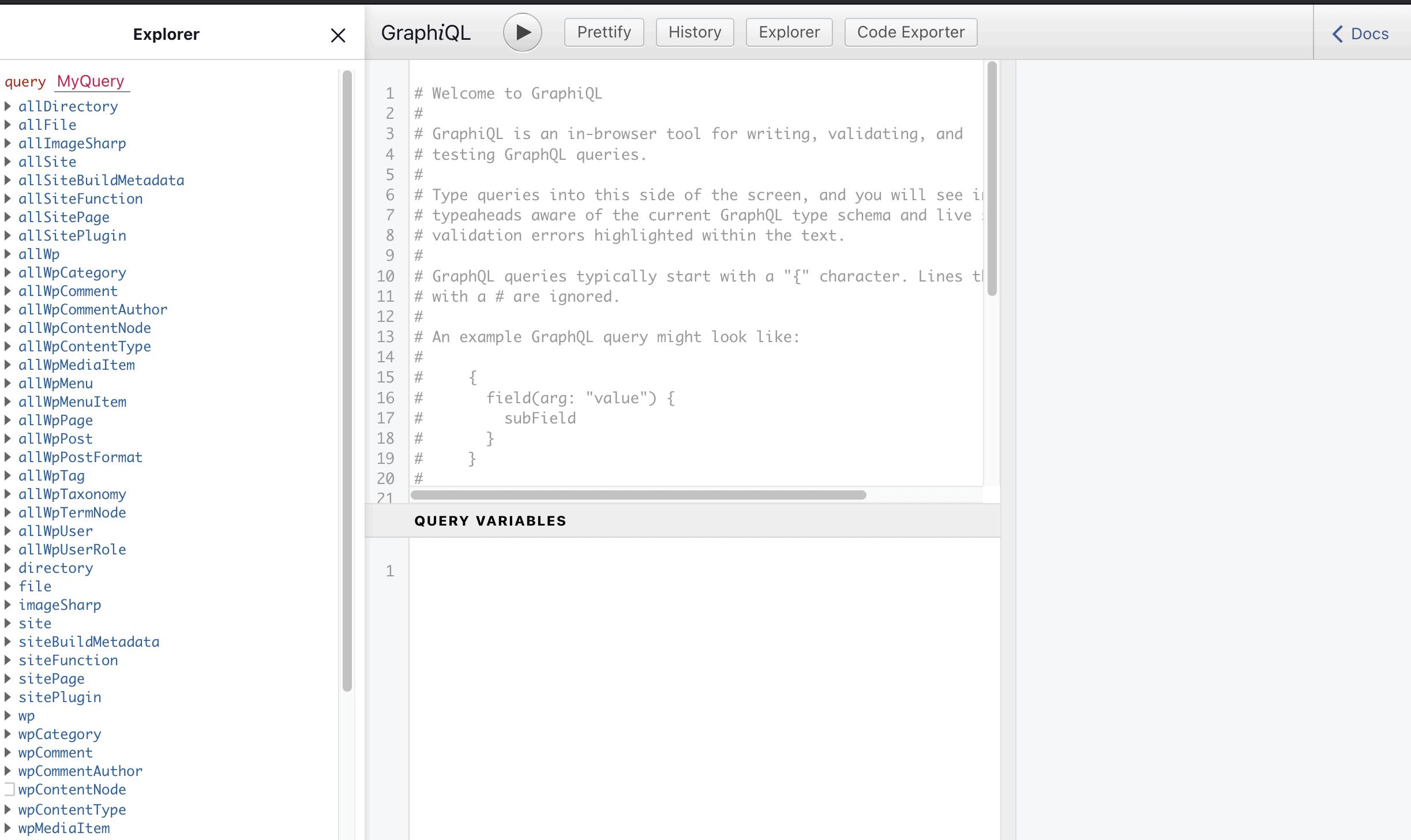 The GraphiQL tool